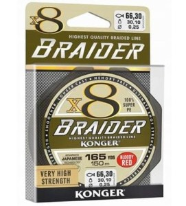 Plecionka Braider x8 Bloody Red 0,25mm 150m 30,10kg Konger czerwona